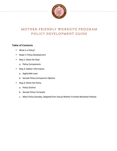 Mother-Friendly Worksite Program Policy Development Guide