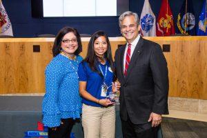 Harris Elementary School staff accepting their award