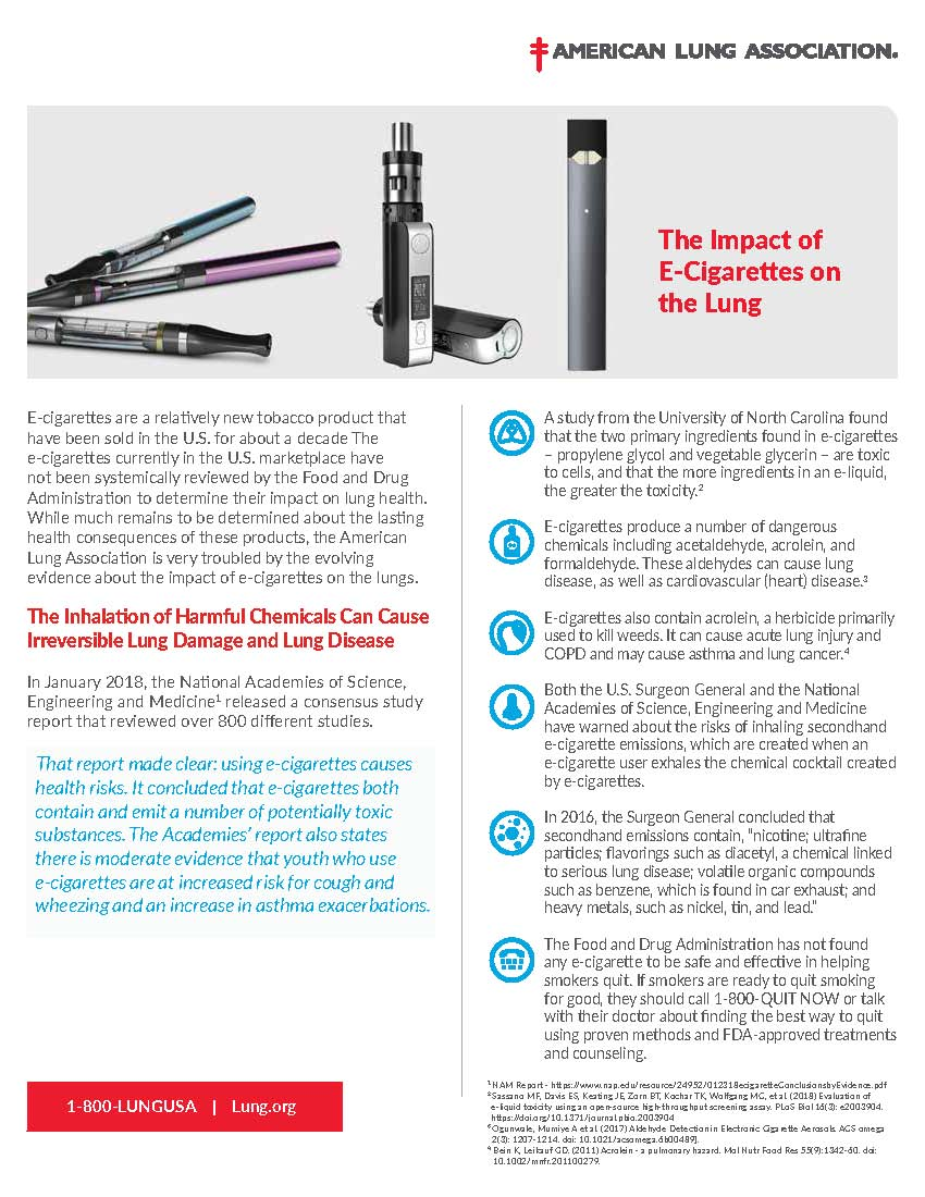 American Lung Association E-Cigarette Health Risk Fact Sheet