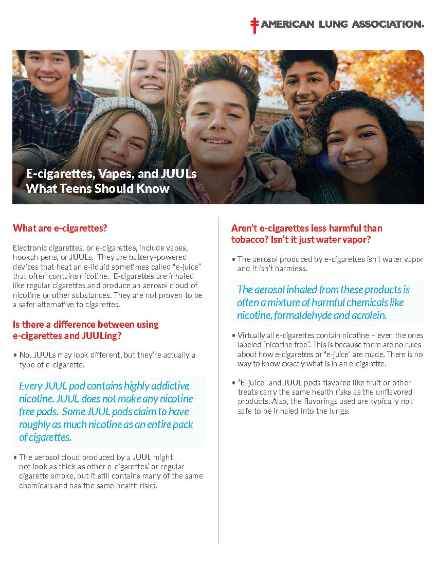American Lung Association E-Cigarette Fact Sheet for Teens
